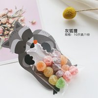 Gift Wrap 10pcs Raccoon Cartoon Self-supporting Bag Cookies And Cand Transparent Hand Basket Self-sealing Cake Pastry