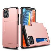 Hybrid-Gleitkarten-Slot-Rüstung TPU-PC-Telefon-Fälle für iPhone 13 PRO max 12 11 XR Samsung S20 Fe S21 Ultra-Anmerkung 20