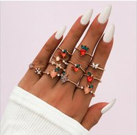 cluster rings 11 sets love Melting fruit department apple peach strawberry cherry snowflake individual character gout
