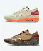 2021 Release Authentic Clot 1 Kuss des Todes Kod Cha Outdoor Schuhe Männer Frauen Netto Tief Rot Orange Blaze Chinesische Kultur Wildleder Sneakers Sports mit Original Box