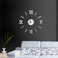 Relojes de pared DIY moderno 2021 Sala de estar real Mirror 3D STICKE Big Reloj Decoración del hogar Acrílico Pegatinas
