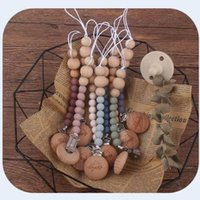 Baby Pacifier Holder Clips Silicon Wooden Bead Chain Eco-Fridendly Material 2021 Original Desigan Infant Feeding Accessories Pacify Products