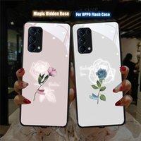 OPPO için Cep Telefonu Torbalar Bulx X2 X3 PRO Sihirli Gül Çiçek Çağrı Flaş Kapakları Funda Reno 3 4 5 Artı Tempor Cam TPU Kabuk