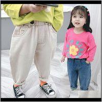 ملابس الطفل، الأمومة اثنين زر السراويل بلون الخصر الجينز الفتيات طماق طفلة ملابس أطفال بنطلون قطرة التسليم 2021 v75gh