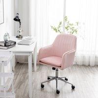 WACO MID Back Retwher Office Child Chareet Chare, Mordern Мебель для домашнего коммерческого Компьютерного комфорта Настольный стол с боковыми руками Регулируемая высота (розовый)