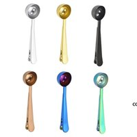 NEW Stainless Steel Coffee Measuring Spoon With Bag Seal Clip Multifunction Jelly Ice Cream Fruit Scoop Spoon Kitchen Accessories DHD8933