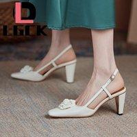 Slingback Frauen Pumpt Elegante Quadratische Zehe Blume Dekorationen Echtes Leder Schuhe Frühling Sommer High Heels Hochzeit Brautkleid