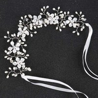 Hair Clips & Barrettes White Pearl With Flower Hairband Bridal Tiaras Headbands Ribbon Wedding Jewelry Crown Women Girls Accessories Decorat