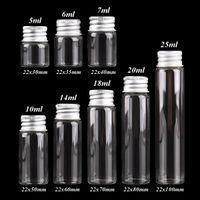 10 pieces 5ml 6ml 7ml 10ml 14ml 18ml 20ml 25ml Glass Bottles with Aluminium Lids Small Mini Glass Jars 8 Sizes U-pick