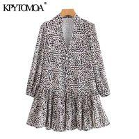 Casual Dresses KPYTOMOA Women 2021 Chic Fashion Leopard Print Ruffled Mini Dress Vintage V Neck Long Sleeve Female Vestidos Mujer