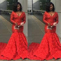 Red Long sleeves Prom Dresses V Neck 3D Rose Flowers Sweep Train Mermaid Evening Gowns Custom Size Celebrity Party Dress