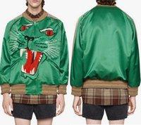 Hombre pantera cara casual chaqueta verde cremallera a través del desgaste de ocio para hombres estilo corto