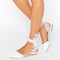 fashion chic sandals round toes white lace riband bowtie flat heel ankle wrap women party footwear big size wedding shoes 45 Loafers