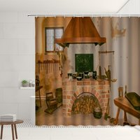 Shower Curtains Retro Fireplace Pattern Curtain Set Vintage Style Home Decorations Polyester Background Cloth Bathroom Screen With Hooks