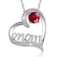 أحمر الأخضر الماس القلب أمي قلادة الحب قلادة القلائد للنساء الأزياء والمجوهرات هدية عيد الأم الرملية
