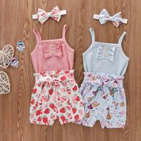 Clothing Sets Summer Toddler Baby Girls Solid Button Sleeveless Romper+ Strawberry Print Shorts + Headband Kids Ribbed Bodysuit Ropa De Niña