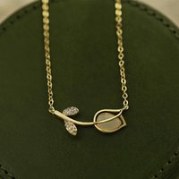 Pendant Necklaces Korean Fashion Rose Flower Opal Chain Necklace For Women Temperament High Quality Zirconia Jewelry Ins Gift