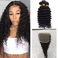 Brazilian 5X5 Lace Closure With 3 Bundles Deep Wave Curly Extensions 100% Human Virgin Hair Natural Color 10-30inch