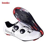 Calzado de ciclismo Boodun Road Biki Cites de bicicleta Fibra de carbono de cuero Ultralige Auto-bloqueo Profesional Racing Bike Bike Sneakers