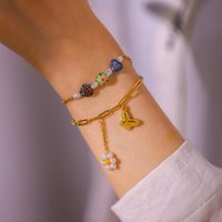 Charm Bracelets Hand Couple Bracelet For Women Butterfly Cute Flower Bangles Anklet Gold Stainless Steel Jewelry Gift Bag Pack