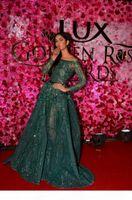 New Luxury Ziad Nakad Emerald Crystal Beaded Evening Pageant Dresses Modest Illusion Long Sleeve Arabic Dubai Prom Gowns Zuhair Murad 017