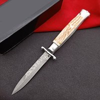 9 Inch Italian Style Single Action Automatic Knife Damascus Antlers Handle Mafia Godfather Hunting Self Defense Survival EDC Auto Knives 13Inch 11Inch UT88 BM 3400
