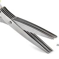 5 Katmanlar Makas Paslanmaz Çelik Pişirme Araçları Mutfak Aksesuarları Bıçaklar Suşi Rendelenmiş Syclion Cut Herb Baharat Makas HWF9692