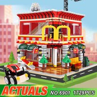 SEMBO 6901 1729pcs City Street View 4 In 1 LED 24 Hour Restaurant Architecture House Model Building Blocks Toys For Kid X0503
