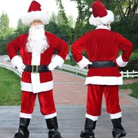 Theme Costume Christmas Santa Claus Beard Lots Men Cosplay Clothes Fancy Dress In Suit For Adults