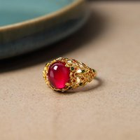 Cluster Rings Luxury Female Natural Red Jade Ring Sterling Silver Gold Engagement For Women Vintage Unique Wedding