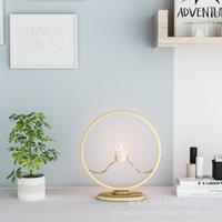 Bougies Nordic Iron Art Moderne Golden Chandelier Romantique Chandeurs Dîner Circulaire Décoration simple Cr