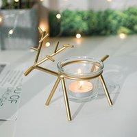 Titulares de velas Nórdico estilo metal criativo moderno de veados dourado forma geométrica soporte vela casa decoração Ei50ch