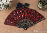 Groothandel populaire chinese opvouwbare pauw hand fan bead stof decor gekleurde geborduurde bloem patroon zwarte doek