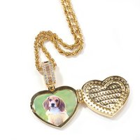 Hip Hop Custom Can Open Heart Shape Photo Frame Memory Medallions Pendants Necklace for Men Women Bling Iced Out Rapper Jewelry