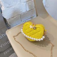 Süße Mädchen Liebe Herz Prinzessin Tasche Designer Luxus Valentinstag Kinder Perle Kette Handtaschen Kinder Metallkette Messenger Bag 962 V2