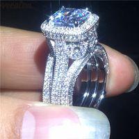 VeCalon Vintage Vintage Vintage 3 en 1 Set 925 Sterling Argent Diamonds CZ Engagement Band Bandes De Mariage Pour Femmes Fête Doigt Bijoux