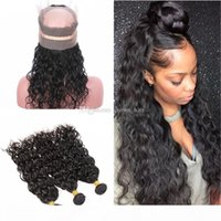 Malaysian Wet and Wavy Human Hair 3 Bundles With 360 Band Lace Frontal Closure Pre Plucked 360 Water Wave Lace Frontal Closure
