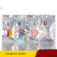 Various Designs Holographic Zip Lock Gift Packing Bags with Clear Window on Front Rainbow Zipper Sealing Mylar Bag Watch and Accessories Package Pouch
