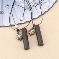 Retro Ethnic Ebony Pendant Long Necklaces For Women Pingan Dragon Pillar Sweater Chain Gifts