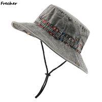 بيع الرجال القطن رئيس التطريز قبعة في الهواء الطلق الشاطئ حماية الشمس واسعة بريم قابلة للطي boonie دلو القبعات الصياد