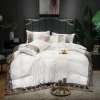 Bettwäsche-Sets European-Stil gewaschene Seide-festfarbige vierteilige Luxus-Lace-Serie Bettblatt-Steppdecke-Kissenbezug-Set