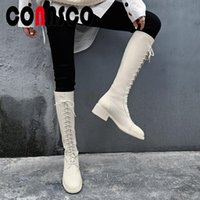 Boots CONASCO Women Knee-High Autumn Winter Warm Lace-Up Genuine Leather Side Zipper Slim Long Shoes Woman