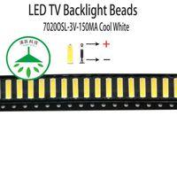 Beads de luz 100 pçs / lote SMD LED 7020 3V 150mA 0.5W Lâmpada legal branca para reparação LCD TV Barra de luz de fundo e tira