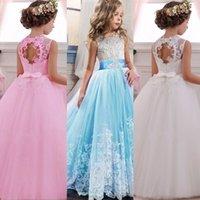 PLBBFZ Weiß Erster Brautjungfer Drgirl Kinder Kleider für Mädchen Kinder Pageant Party Hochzeit Prindrdr3-14 Jahre X0509