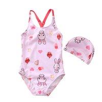 2021 جديد الصيف الطفل بنات ملابس مخطط الكرتون الأرنب الحصان الزهور ملابس السباحة ملابس الأطفال E081