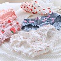 Calcinha das Mulheres SpCity Cartoon Fruta Cute Algodão Underwear Ruffle Menina Doce Cereja Meados De Cintura Médio Colorido Briefs
