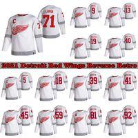 Detroit Red Wings 2021 Jersey de hockey rétro Retro 71 Dylan Larkin 9 Gordie Howe 13 Pavel Datsyuk 19 Steve Yzerman