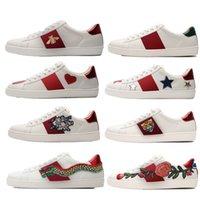 Gucci white shoes Top 2021 Meilleure qualité Stripe New Designer Chaussures ACE brodée Mens de Cuir Véritable Designers Sneakers Femme Homme Casual Ace Chaussures