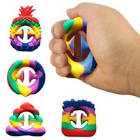 Rainbow Color Anti Stress Finger Hand Grip Stress Reliever Fidget Toy Decompression Toy Silicone Grip Fidget Toy Adult Child CJ12
