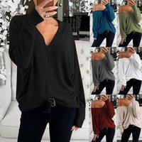 2021 Sexy Deep V Neck Long Sleeve Women's Plus Size T Shirt Tops Spring Autumn Fashion Casual Loose Ladies Simplicity T Shirts